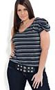 One Shoulder Stripe Top With Belt
