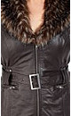 Pleather Faux Fur Collar Jacket