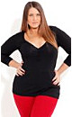 Rouched 3/4 Sleeve Top
