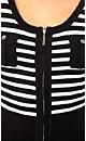 Zip Stripe Cute Pocket Cardigan