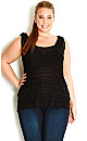 Daisy Crochet Top - Black - 20 / L