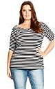 Stripe Bardot Top - Black - 22 / XL