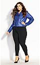 Whip Stitch Biker Jacket - cobalt