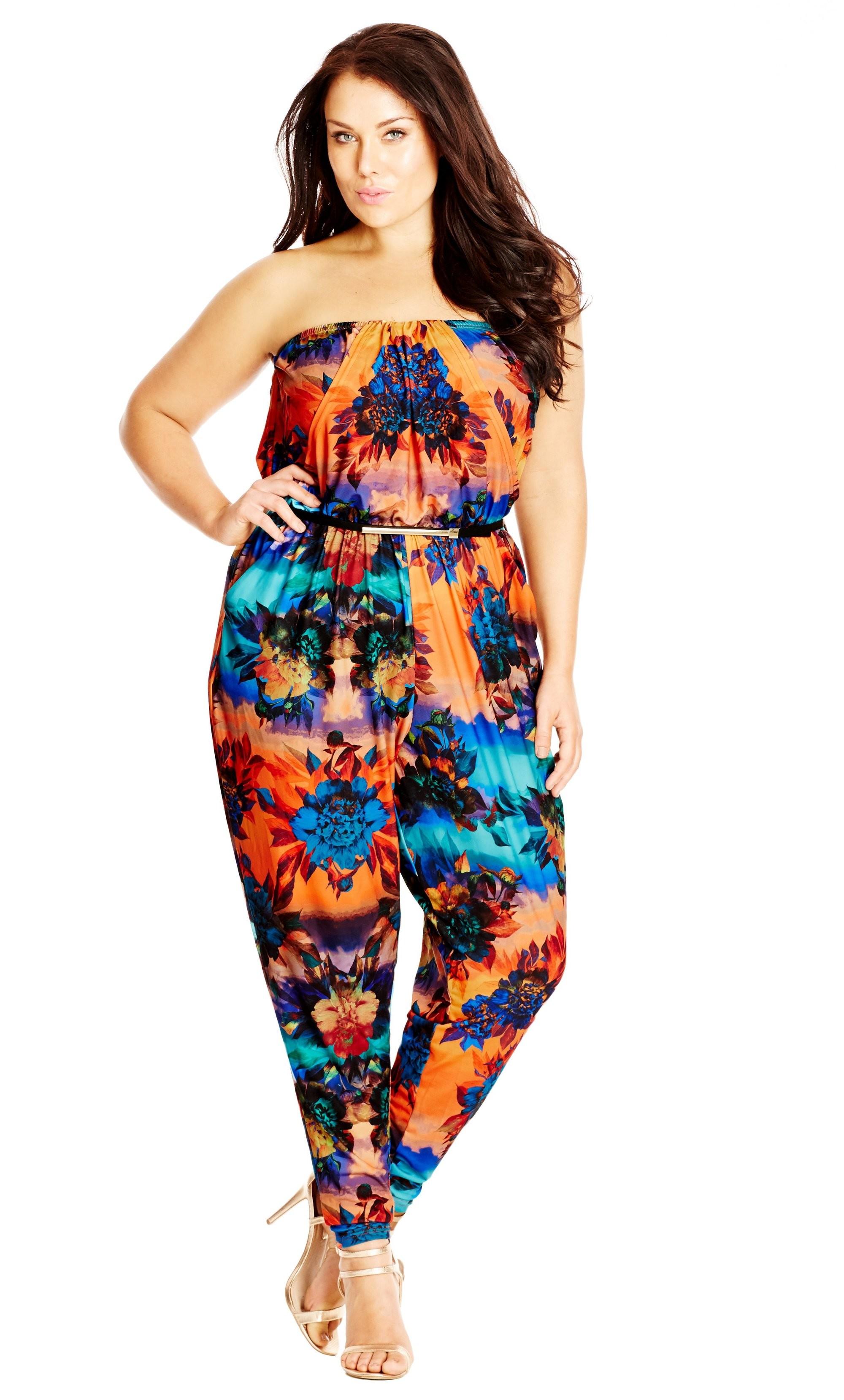 Womens Plus Size Black Strapless Jumpsuit 2X Summer Tropical Travel Attire