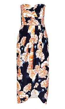 Tulip Time Printed Faux Wrap Maxi Dress