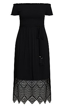 Embroidery Hem Maxi Dress - black