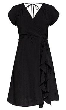 Satin Ruffle Dress - black