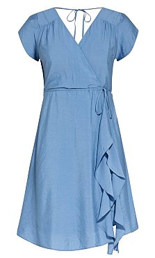 Satin Ruffle Dress - cornflower
