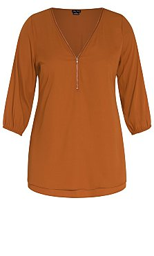 Sexy Fling Elbow Sleeve Top - amber