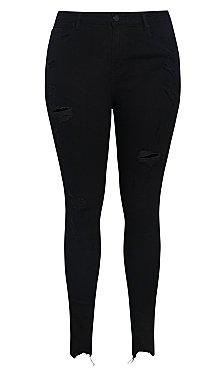 Harley Crazy Rip Skinny Jean - black