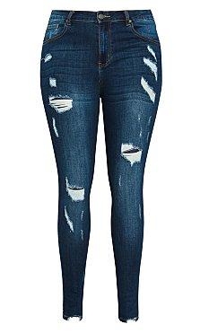 Harley Crazy Rip Skinny Jean - indigo