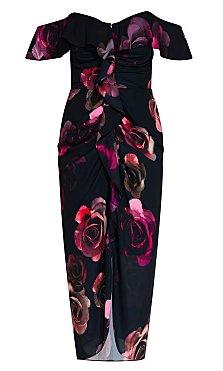 Decadent Floral Dress - black
