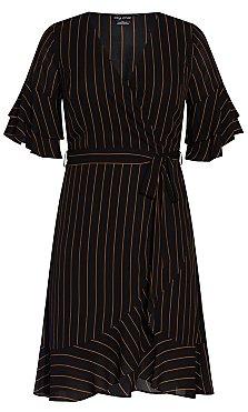 Golden Stripe Dress - black