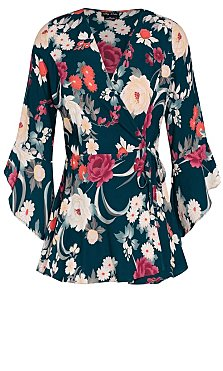 Ikebana Floral Wrap Top - emerald