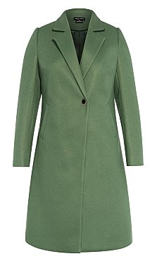 Simple Button Coat - moss