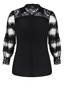 Deluxe Lace Shirt - black