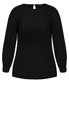 Crush Sleeve Top - black
