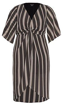 Phonic Stripe Dress - black