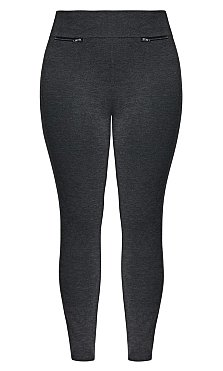 Sleek Zip Trim Pant - charcoal
