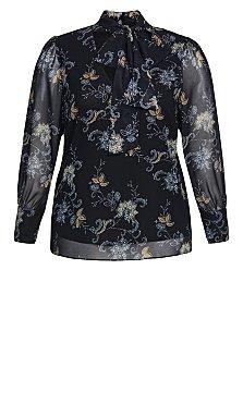 Floral Cascade Top - black