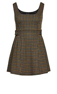 Check Pinafore Dress - gold