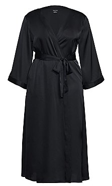 Long Satin Wrap - black