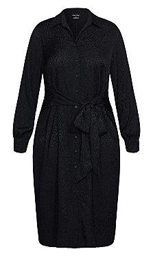 Brocade Twist Dress - black