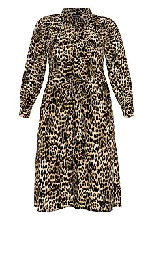 Leopard Twist Dress - ochre