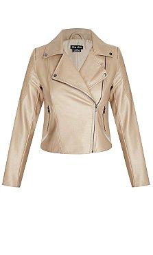 Zip Biker Pleather Jacket - Tan